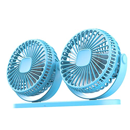 luukiy Ventilador De Coche, Ventilador De Coche Eléctrico De Doble Cabezal, Mini Ventiladores De Refrigeración Giratorios De 360 ° 3 Velocidades Aire Acondicionado Coche para SUV RV ATV