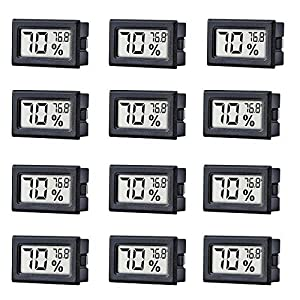 12 Pack Mini Small Digital Electronic Temperature Humidity Meters Gauge Indoor Thermometer Hygrometer LCD Display Fahrenheit (?) for Humidors, Greenhouse, Garden, Cellar