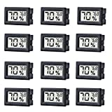 12 Pack Mini Small Digital Electronic Temperature Humidity Meters Gauge Indoor Thermometer...
