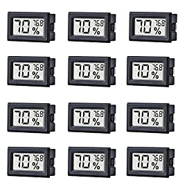 12 Pack Mini Small Digital Electronic Temperature Humidity Meters Gauge Indoor Thermometer Hygrometer LCD Display… 3 Mini Digital Humidity Thermometer allows you to easily know the environment temperature and humidity around you 2in1 meter with built-in probe; digital electronic thermometer and hygrometer for measuring temperature and humidity for indoor use Fahrenheit (°F) display, this thermometer displays temperature in Fahrenheit