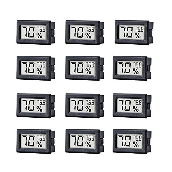 12 Pack Mini Small Digital Electronic Temperature Humidity Meters Gauge Indoor Thermometer Hygrometer LCD Display… 1 Mini Digital Humidity Thermometer allows you to easily know the environment temperature and humidity around you 2in1 meter with built-in probe; digital electronic thermometer and hygrometer for measuring temperature and humidity for indoor use Fahrenheit (°F) display, this thermometer displays temperature in Fahrenheit
