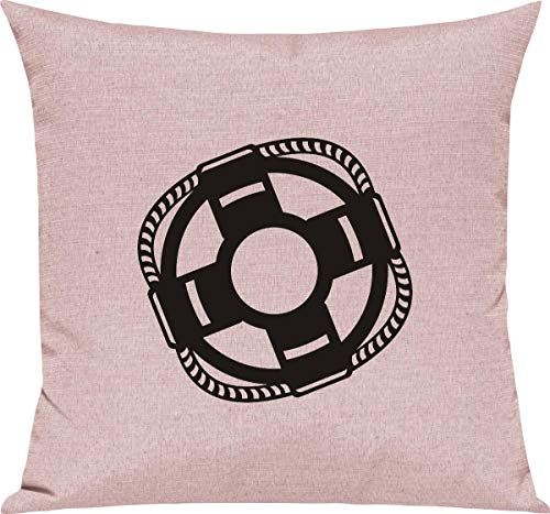 Camiseta Stown sofá cojín, Salvavidas Boot, Capitán, algodón Mezcla, Rosa, 40 x 40 cm