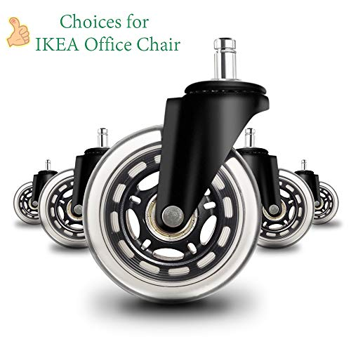 Anyke 3' Office Chair Caster Wheels Replacement Set of 5 Premium Chair Casters Safe Silent No More Chair Mat for Hardwood Floors Heavy Duty Casters Fit for IKEA Chair (Stem Diameter 10mm)