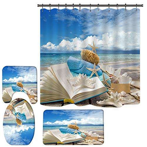 Sea Snail Shower Curtain for Bathroom, Beach Starfish Shower Curtain Set with Non-Slip Rugs, Toilet Lid and Bath Mats, Tropical Shower Curtain with 12 Hooks (H1)