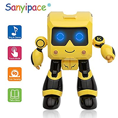 Robots for Kids,RC Robot for Kids Educational Stem Toys Robotics for Kids Intelligent Programmable Robot with Infrared Controller Toys, Dancing, Singing, Led Eyes, Gesture Sensing Robot Kit(Yellow)