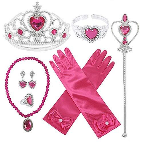 Pveath Set di Accessori da Principessa per Accessori per Costumi da Festa per Ragazze, Corona Principessa Inclusa, Bacchette, Bracciale, Anelli, Collana, Guanti, Orecchini, 9 Pezzi (Rosa Rossa)