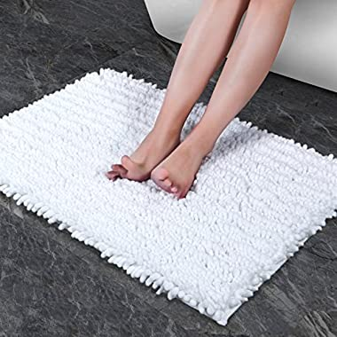 Norcho Bath Mat Soft Chenille Rug Water Absorbent with Non-slip Back for Bathroom 20 x 31 inch White