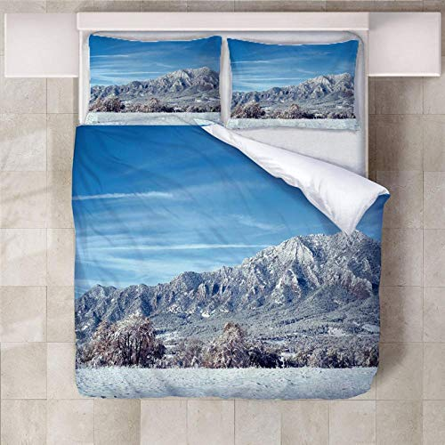 Jior Home Art 3 stuks Bedding Teens Kids dekbedovertrek met 2 kussenslopen, zacht, microvezel, hypoallergeen, 3D ketting Montuosa, 135 x 200 cm