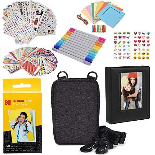 Kodak 2 x 3 Pulgadas Premium Zink Papel fotográfico (Paquete de 50) Kit de Accesorios con álbum de Fotos, Estuche, Pegatinas, marcadores