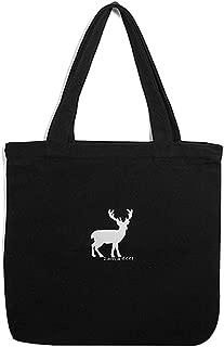 ALYER Adorable Heavy Duty Cotton Canvas Zipper Shoulder Tote Bag with Inner Pocket Horizontal Black