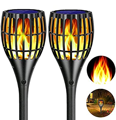 Solar Flame Lights Outdoor,YUJENY Flickering Flame Wall Lights Outdoor Solar Spotlights Landscape Decoration Lighting Dusk to Dawn Auto On/Off 66 LEDWaterproof Solar Powered Wall Lights Garden?2 Pack?