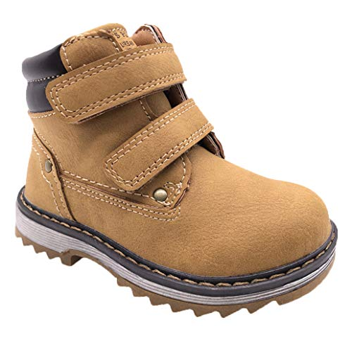TZJS Kids' Hiking Boots for Boys Girls, Waterproof Outdoor Ankle Boots with Hook and Loop(Camel 2)