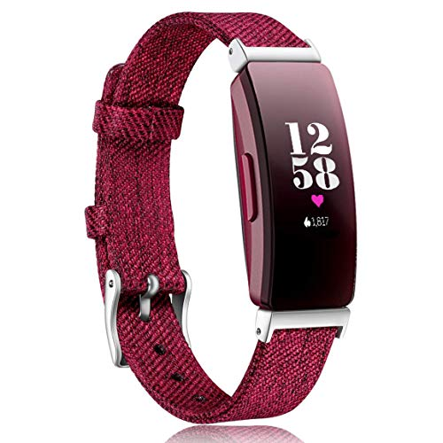 Maledan Bands Compatible with Fitbit Inspire HR and Inspire Fitness Activity Tracker for Women Men, Durable Woven Fabric Watch Band Replacement Accessories Strap Wristband, Small, Wine Red