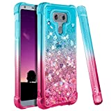 Ruky Case Compatible with LG G6, Gradient Quicksand Series Soft TPU Bumper Cushion Reinforced Corners Glitter Bling Floating Liquid Women Girls Phone Case Compatible with LG G6 (Teal Pink)