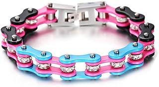 Bracciale da uomo e braccialetto da donna catena moto motociclista con colori fluo azzurro e rosa in acciaio inossidabile ...
