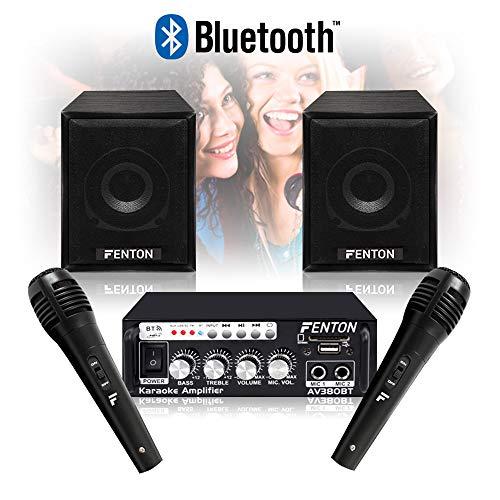 Fenton Bedroom Karaoke Speakers and Amplifier Bluetooth Wired Mics...