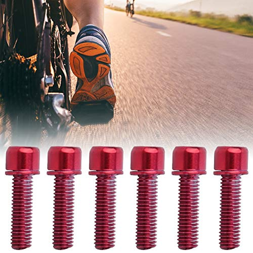 Demeras Perno de Bicicleta con arandela Tornillo de vástago de Bicicleta para Piezas de Manillar de Bicicleta de montaña(Red One Card/6)