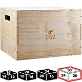 Wood Plyometric Box 30/24/20 by Day 1 Fitness, 3-in-1, for Crossfit Training, Jumps - Heavy-Duty, Non-Slip Plyo Boxes with Rounded Corners for Safety - Durable Conditioning Equipment