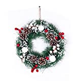 Christmas Decoration Wreath for Front Door, Wall Hanging Snowball Red Berry Pine Cone Garland Ornament for Xmas Party Indoors and Outdoors Home Decor