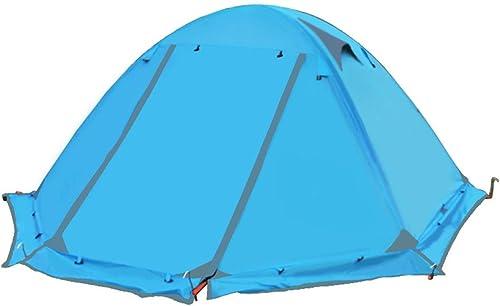 RFVBNM Tente imperméable à l'eau tente extérieure Camping tente de camping double double couche d'aluminium Rod imperméable à l'épreuve de voyage de camping fournitures 210 × (60 + 150 + 60) × 115cm, bleu