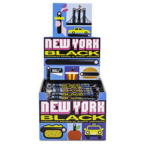 Gelco New York Black, Caramella Gommosa Gusto Liquirizia Ripiena, 150 Bastoncini Liquirizia Monopezzi