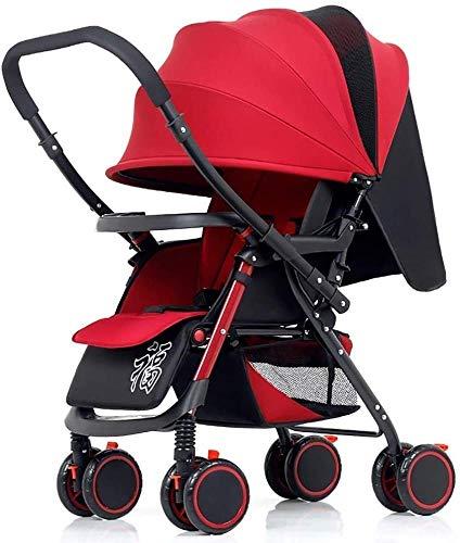 Poppenwagen kinderwagen babywagen licht opvouwbare 4-wielophanging omkeerbare handgreep Newborn trolley babyartikel rood
