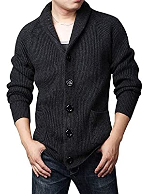 Yeokou Men's Casual Slim Thick Knitted Shawl Collar Cardigan Sweaters Pockets (Large, Black) from