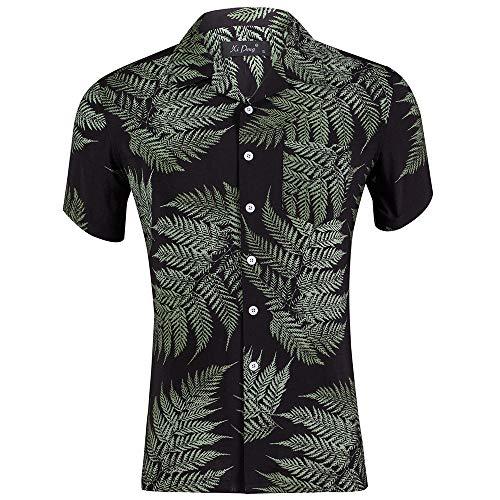 Sainfee Hawaiian Shirts for Men Tropical Casual Button Down Short Sleeve Shirt Beach Aloha Shirt(Black+Leaf Medium)