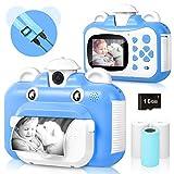 Cámara para niños, cámara de impresión WiFi para niños, cámara de vídeo HD 1080P con Pantalla de 2.4 Pulgadas, cámara instantánea con Tarjeta SD de 16 GB y 3 Rollos de Papel de impresión (Azul)