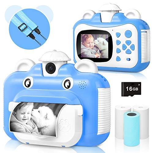 Kinderkamera, WiFi Print Kamera für Kinder, 1080P HD Videokamera mit 2,4 Zoll Screen, Sofortbildkamera Schwarzweiß-Fotokamera mit 16 GB SD-Karte und 3 Rollen Druckpapier, Geschenk für Kinder (Blau)