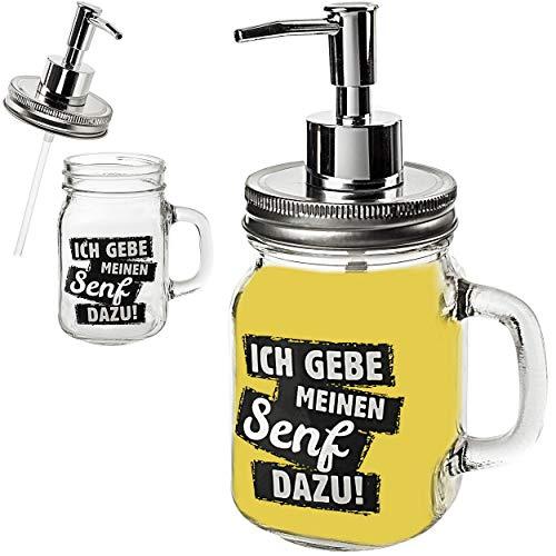 Senf & Ketchup - Spender mit Pumpe _ Ich gebe Meinen Senf dazu ! _ 420 ml - für Sauce / Saucenspender - Senfglas groß - Flasche Ketschupspender Pumpspender mi..