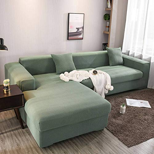 Stretch Sofa Slipcover, Thick Soft Non Slip Elastic Couch Cover Full Cover L Shape Sofa Cover Suitable for Living Room Kids Pets-Green-3 Seat 190-230cm