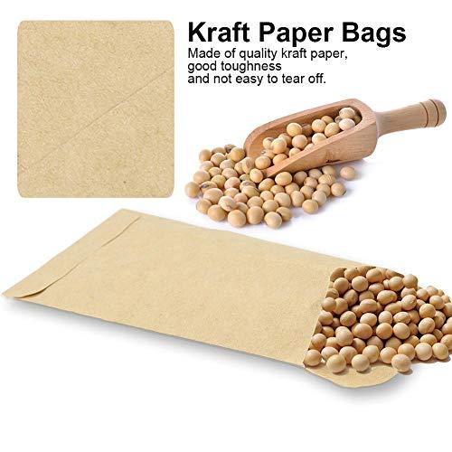 100 stuks papieren zakken, zelfklevend ontwerp kraft papieren zakken maïs tarwe rijst zaden verpakking opbergtas envelop stijl zakken voor het bewaren van zaden maïs, rijst, enz. (9 * 13 cm)