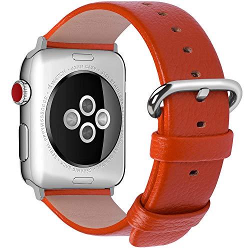 Fullmosa Compatibile Cinturino per Apple Watch 38mm/40mm e 42mm/44mm,15 Colori Yan Pelle Cinturino/Cinturini di Ricambio per Apple Watch,Cinturino per iWatch Series 5,4,3,2,1, Uomo e Donna, Arancia