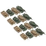 B Blesiya 1/144 Plastic battle tank models prebuilt ww2 army military vehicle toys set for kids boys, 2 types, pack of 16
