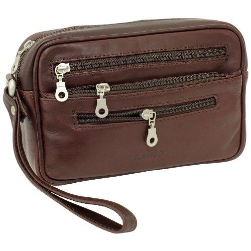 Branco Business Herren Damen Handgelenktasche Herrentasche Damentasche Tasche Leder braun