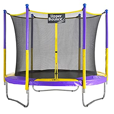 Upper Bounce 9 FT Round Trampoline Set with Safety Enclosure System Yellow/Purple