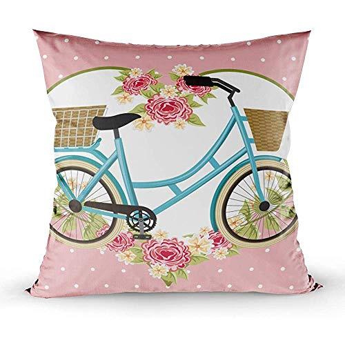 Bue Time Quadratischer Dekokissenbezug, Vintage Fahrradkorb Blumen Herz Dekoration