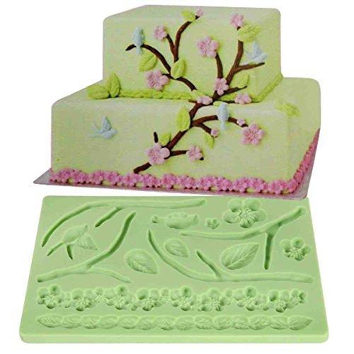 Moule Décoratif En Silicone Gâteaux Et Tartes Pâte À Sucre Artisanales - Motif Feuilles Fleurs Guirlandes by DELIAWINTERFEL