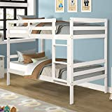 Costzon Twin Bunk Bed, Solid Hardwood Twin Over Twin Bed for Kids with Ladder and Safety Rail, Children Wooden Bunk Beds for Bedroom, Dorm, Flat w/Slats, Bedroom Furniture (White)
