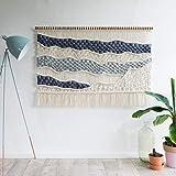 Macramé Colgar en la Pared Driftwood Decor,Cuerda de algodón hecha a mano y tapiz bohemio de lana de Islandia,Decoración elegante de la pared del arte de la borla para sala de estar,Beige-95x65cm