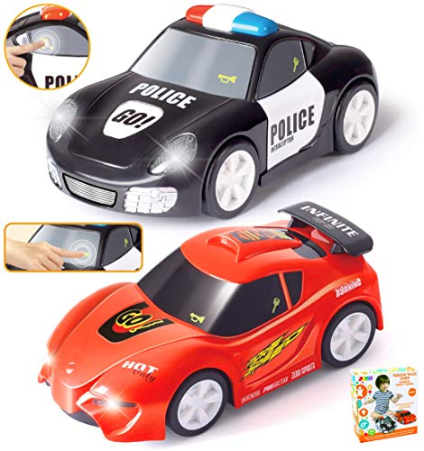 JOYIN 2 PCs Police Car and Race Car (6.5' Long) with Flashing Lights and Siren Sounds, Great Vehicle Toys for 3 4 5 Years Old Toddlers, Boys, Girls and Kids Birthday Gift and Holiday Basket Stuffers.