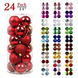GameXcel Christmas Balls Ornaments for Xmas Tree - Shatterproof Christmas Tree Decorations Large Hanging Ball Red 2.5' x 24 Pack