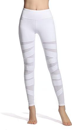 9502f105fb967f Lotsyle Women's Mesh Panels Yoga Leggings Workout Fitness Yoga Pants