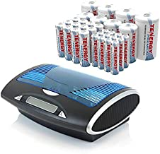Tenergy T9688 LCD AA/AAA/C/D/9V NiMH/NiCd Battery Charger + Premium 32-Cell 1.2V NiMH Rechargeable Battery 12AA/12AAA/4C/4D Batteries