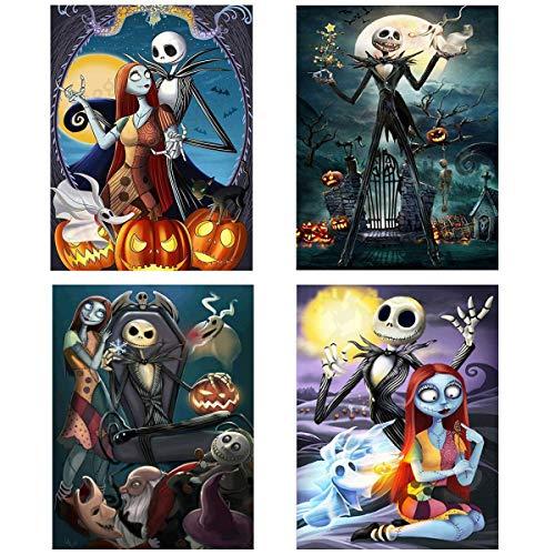 4 Pack Halloween 5D Diamond Painting Kits Full Drill, Halloween Jack Skellington Pumpkin Skull Diamond Painting Rhinestone Painting Sets for Art Craft Home Decoration, 12 x 16 inch