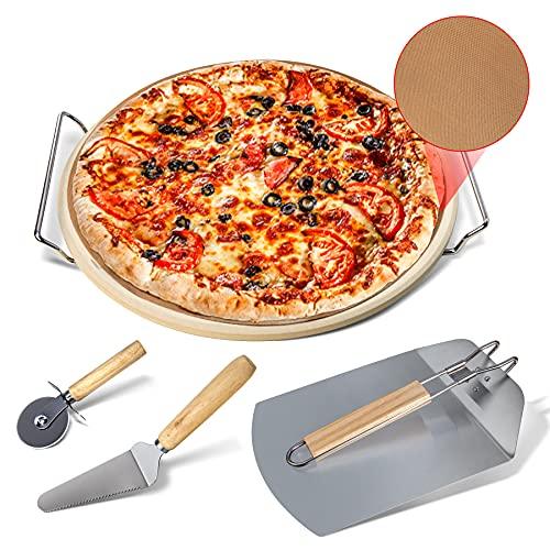 SINNAYEO 6 Piece Pizza Stone Set-13'' Pizza Stone for Grill and Oven with Foldable Metal Pizza Peel and Accessories Set,Thermal Shock Resistant Cooking Stone for Best Crispy Crust