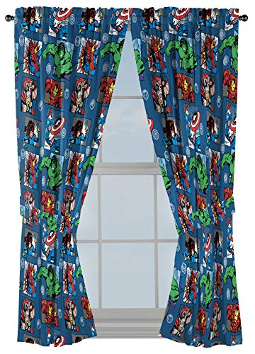 """Marvel Avengers Fighting Team 63"""" Inch Drapes - Beautiful Room Décor & Easy Set Up, Bedding - Curtains Include 2 Tiebacks, 4 Piece Set (Official Marvel Product)"""