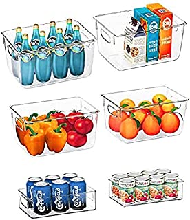 Queta Premium Transparent Pantry Organizer Bins - Set of 6 Containers (4 Large and 2 Small Organizing Bins) Storage Organi...