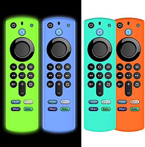 AIYAAIYA 4 PCS Funda Protectora para Alexa Voice Remote (3rd Gen) 2021, Estuche de Silicona para Fire TV Stick 4K Mando a Distancia con Cuerda Antipérdida (Glow Azul+Glow Verde+Azul Hielo+Naranja)
